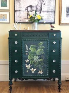 Dresser with beautiful lines painted with Chalk Paint®️️ in Amsterdam Green along with a botanical center with Image Medium and Craqueleur | Stunning project by Annie Sloan Stockist When Modern Was in San Francisco, CA