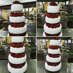 4tier wedding cake, red roses
