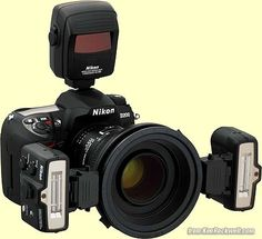 Great for macro shoot: Nikon D200 with 105 mm lens and R1C1 flash system.