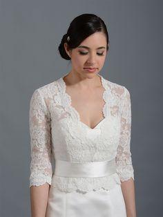 8a744ebe78e7 3/4 Sleeve Front open Ivory Alencon Lace Bolero Jacket. Lace Wedding Dress  TopperLace Bolero WeddingBridal ...