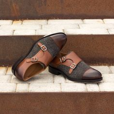 The Goodyear Welt Double Monk in Nailhead Wool and Medium Brown Painted Calf - Robert August Apparel Goodyear Shoes, Goodyear Welt, Gents Fashion, Fashion Guide, Gentleman Shoes, Double Monk Strap, Velvet Slippers, Custom Design Shoes, Mens Style Guide