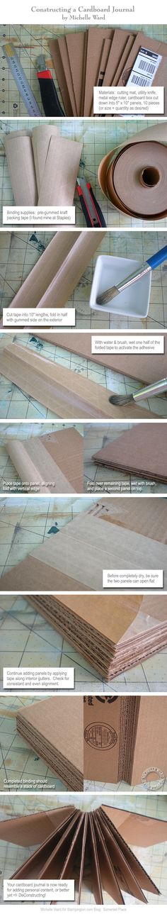 Upcycled Cardboard Book with Guest Artist Michelle Ward. Making Workbooks with cardboard and kraft tape