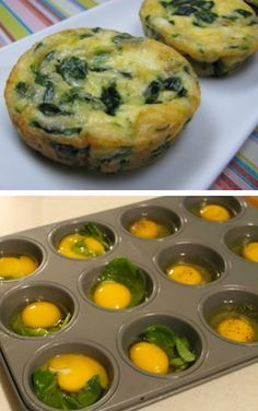 Spinach & Eggs in a Muffin Pan Baking eggs in a muffin tin is a very convenient way to cook a nutritious meal. With this method, you can use just plain eggs or add your favorite omelet ingredients fo (Low Carb Breakfast Lunch) Breakfast And Brunch, Spinach And Eggs Breakfast, Breakfast Dishes, Breakfast Recipes, Spinach Muffins, Breakfast Ideas, Egg Spinach Bake, Omlet Muffins, Snacks