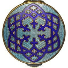 Art Deco Blue Guilloche Enamel Compact from redswallow on Ruby Lane