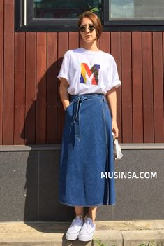 If you need natural, test tucking mini skirt within a One. Modest Outfits, Modest Fashion, Skirt Fashion, Hijab Fashion, Korean Fashion, Casual Outfits, Cute Outfits, Fashion Outfits, Denim Skirt Outfits