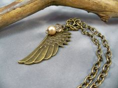 Bronze Angel Wing Necklace Bronze Necklace  Angel Wing by babbleon, $15.00