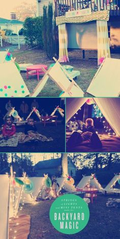 backyard/outdoor movie night party, with strings of lights and tents // outdoor birthday party ideas for kids // summer themed parties Outdoor Movie Party, Movie Night Party, Party Time, Backyard Movie Party, Backyard Birthday, Outdoor Birthday, Pj Party, Oscar Party, Camping Parties