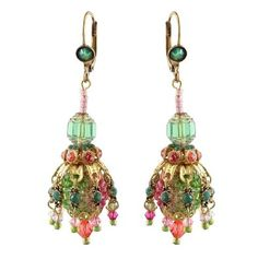 Michal Negrin Earrings with Round Beads, Brass Petals Holding Dangling Green Swarovski Crystals 3: Jewelry