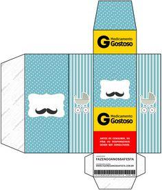 Caixa Remedio Chá de Bebê Mustache