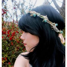 Boho Hair Accessories Flower Crown   Spirit Hair Wreath Vintage Lace... ($37) ❤ liked on Polyvore featuring accessories, hair accessories, dark olive, headbands & turbans, rose flower crown, flower crown, flower garland, bridal flower crown and floral crown headband