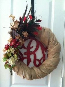 Love the burlap wreath with red Initial Outfitters wreath monogram for Fall!