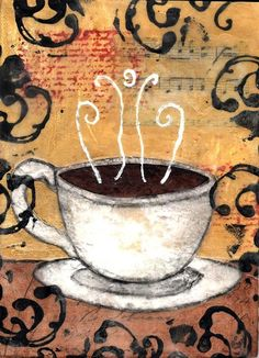 Coffee Kitchen Wall Art Print Limited Edition - Mixed Media Matted 10 x 8 inches by niki jackson