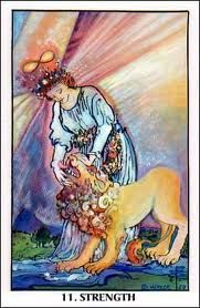 The strength tarot card. The key to finding yourself is over coming fear. Major Arcana Cards, Tarot Major Arcana, Strength Tarot, Le Tarot, Lions Gate, In Ancient Times, Tarot Decks, Archetypes, Tarot Cards