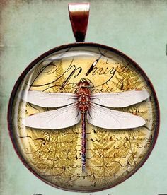 Dragonfly Dragonflies Bronze or Silver Altered Art Necklace Charm/Pendant  $14.95