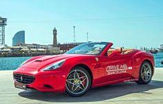 Ferrari California from beach of Barcelona