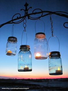 Hanging Mason Jar Lids 10 Outdoor Wedding Candle by treasureagain, $30.00