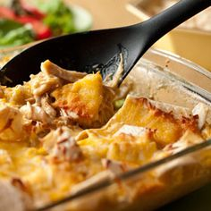 Slow-cooking the chicken before shredding makes it especially tender and flavorful...when that chicken is layered with tortillas and cheese, you've got a simple, family-friendly casserole.