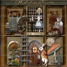 Letterbak - Letterkast *Printer Tray- Shadow Box- Configuration Box  ~Thema: Alice in Wonderland~: