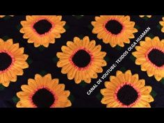 muestra # 16 girasol para colcha a crochet video 3 - YouTube