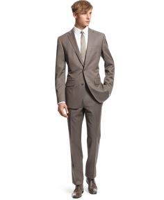 Bar III Suit, Taupe Texture Slim Fit - Mens Suits & Suit Separates - Macy's