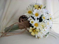 Daisy Bouquet Twine Wrap Hippie Bridal by BudgetWeddingBouquet, $88.00