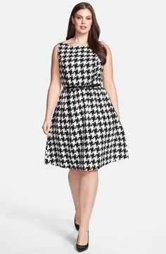 Jessica Simpson Houndstooth Dress (Plus Size) | Nordstrom  I would put some pink with this, belt, shoes.