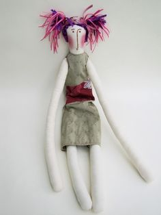 "Bellaluna Doll: Made of unbleached muslin with clothing of new and vintage fabrics. 29"" tall. $44."