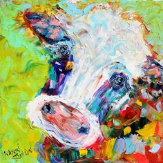 Original oil painting Colorful Cow farm animal by Karensfineart