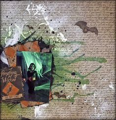 Halloween Scrapbook Layout Using Canvas Corp & Tattered Angels