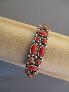 Sterling Silver and Coral Cuff Bracelet made by Navajo artist Verdy Jake.