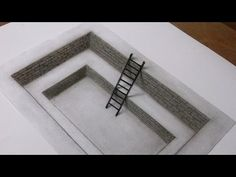 3d art drawing - Ladder inside the hole - YouTube