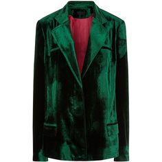 Haider Ackermann Emerald Velvet Single Breasted Blazer (€2.205) ❤ liked on Polyvore featuring outerwear, jackets, blazers, long sleeve blazer, stand collar jacket, green velvet jacket, velvet blazer and slim blazer