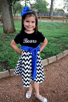 Girls School Spirit Dress Chevron by ThePinkRoseBoutique on Etsy