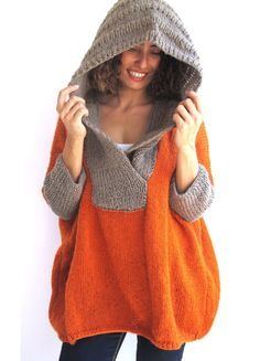 Plus Size Hand Knitted Sweater with Hoodie- Beige- Orange - Poncho - Tunic - Dress by Afra di afra su Etsy https://www.etsy.com/it/listing/154262814/plus-size-hand-knitted-sweater-with