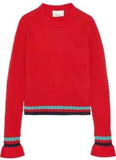 Shop on-sale Striped ribbed-knit cotton-blend sweater. Browse other discount designer Medium Knit & more luxury fashion pieces at THE OUTNET Sweater Sale, Men Sweater, 3.1 Phillip Lim, Cotton Sweater, Red Stripes, Color Trends, Work Wear, What To Wear, Luxury Fashion