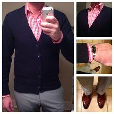 Navy cardigan, pink gingham shirt, light grey pants