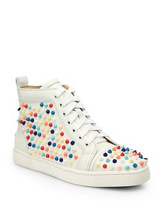 Studs? Christian Louboutin - Louis Woman Studded Leather Wedge Sneakers