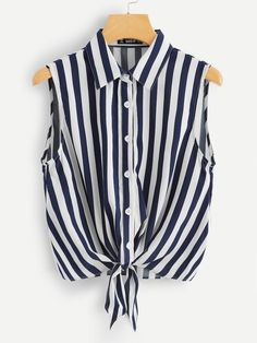 Casual Button and Knot Striped Shirt Regular Fit Collar Sleeveless Placket Navy Regular Length Button Front Striped Shell Top Girls Fashion Clothes, Teen Fashion Outfits, Trendy Outfits, Girl Fashion, Girl Outfits, Cute Outfits, Cute Overalls, Trendy Hoodies, Looks Plus Size