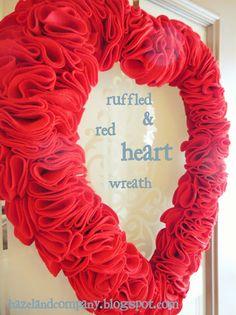 hazel and company: rufffled & red heart wreath tutorial