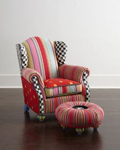 -5QAD MacKenzie-Childs Wee Wing Chair & Tuffet