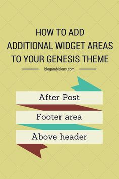 How to add new widget areas to your genesis theme. Create an after post widget, a footer widget, or a widget above your header!