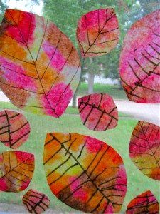 coffee filter fall leaves with black lines