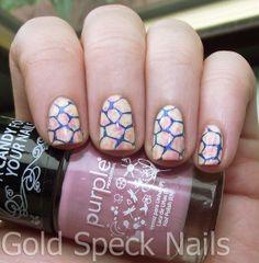 Gold Speck Nails: Saran Wrap Base - We Stamp On Sundays