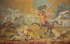 Pair of Centaurs Fighting Cats of Prey from Hadrian's Villa. Mosaic, circa 130 AD. Altes Museum Berlin