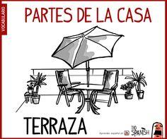 Terraza, partes de la casa - vocabulario español intermedio
