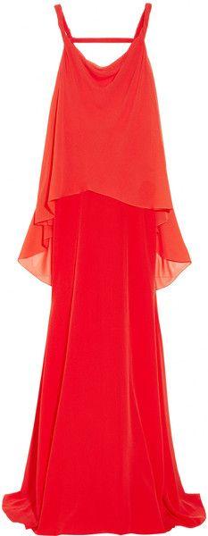 Layered Silk and Silk-Chiffon Gown - Lyst