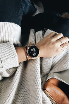 Fall calls for cozy sweaters and a new Q Wander rose gold smartwatch. via @ ashleysharm
