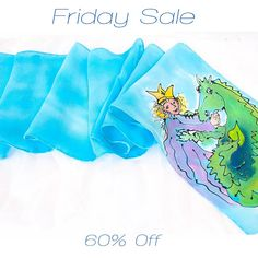 """A """"Once upon a time..."""" Silk scarf for your child or favorite storyteller. Part of my Friday Sale series."""