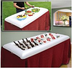 Inflatable Salad Bar ENJOY YOUR OUTDOOR COOKOUTS ~ BBQ CONDIMENT HOLDERS, INFLATABLE SALAD BAR, LARGE FOOD COVER