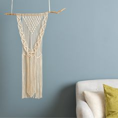 Contemporary Macrame - wall hanging  https://www.woolcouturecompany.com/product-category/project/macrame-project/  #macrame #modernmacrame #woolcouture #wallart #wallhanging #walldecor #homedecor #decorinspiration #DIY #handmade #yarnlove